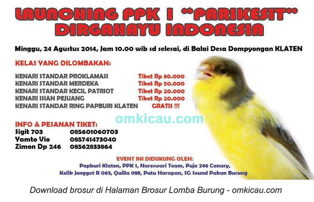 Brosur Lomba Burung Berkicau Lanching PPK I Parikesit, Klaten, 24 Agustus 2014