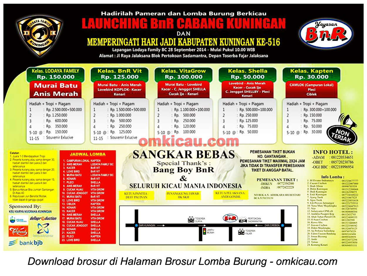 Brosur Lomba Burung Berkicau Launching BnR Cabang Kuningan, 28 September 2014