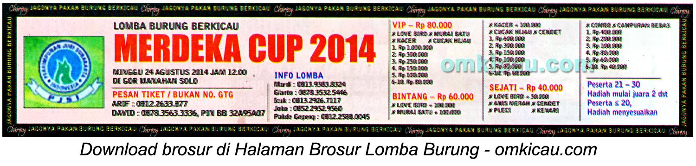 Brosur Lomba Burung Berkicau Merdeka Cup 2014, Solo, 24 Agustus 2014
