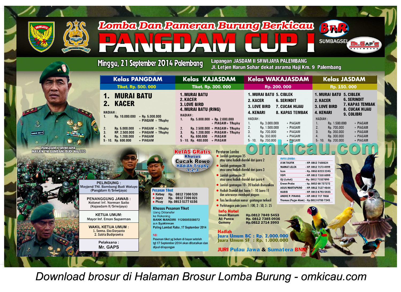 Brosur Lomba Burung Berkicau Pangdam Cup I, Palembang, 21 September 2014