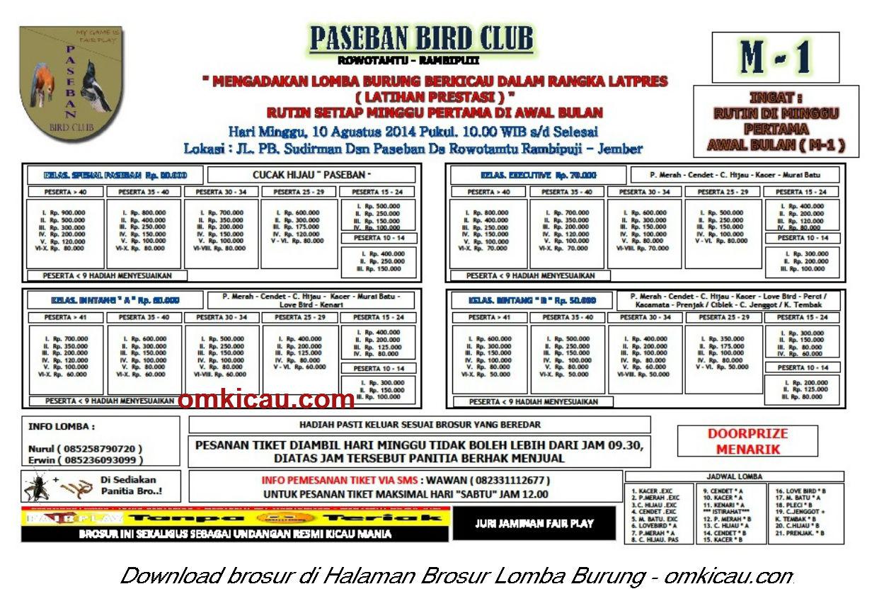 Brosur Lomba Burung Berkicau Paseban BC, Jember, 10 Agustus 2014