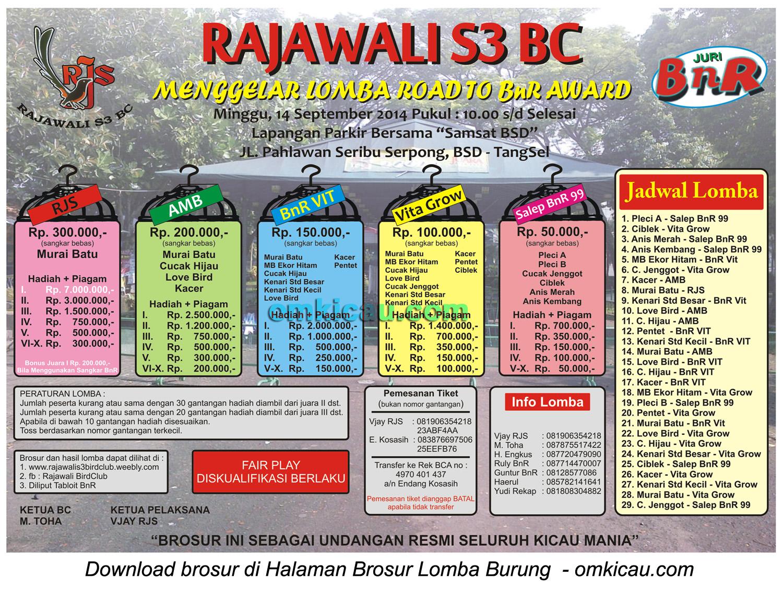 Brosur Lomba Burung Berkicau Rajawali S3 BC-Road to BnR Award, Tangsel, 14 September 2014