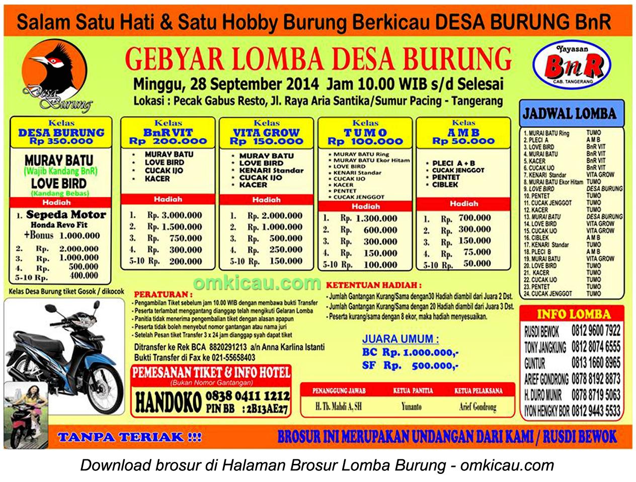 Brosur Lomba Burung Gebyar Lomba Desa Burung, Tangerang, 28 September 2014