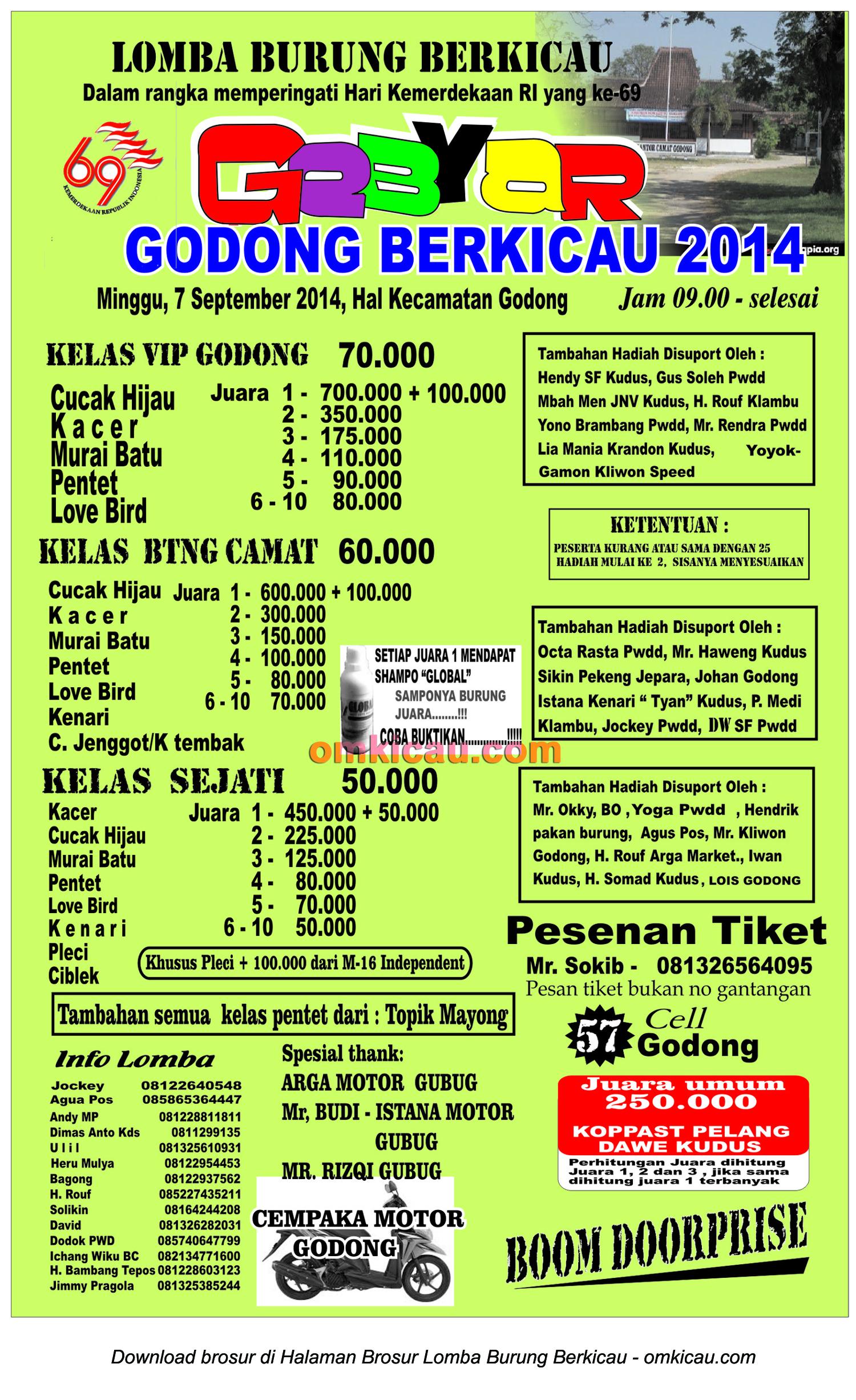 Brosur Lomba Burung Godong Berkicau 2014, Kab Grobogan, 7 September 2014