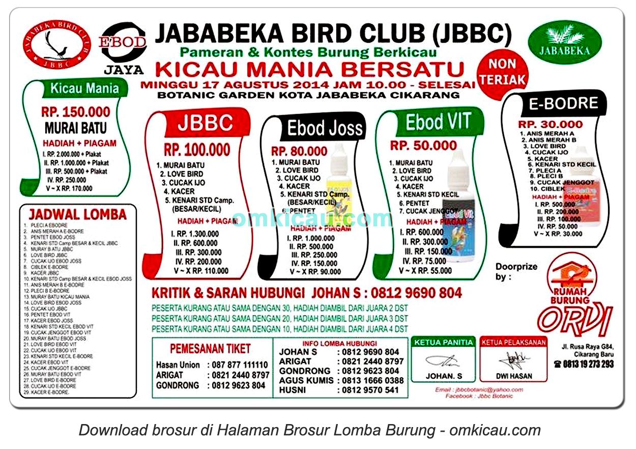 Brosur Lomba Burung Kicau Mania Bersatu - JBBC, Bekasi, 17 Agustus 2014