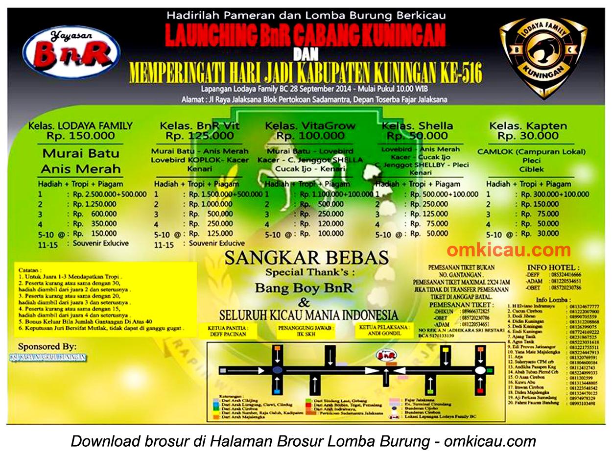 Brosur Lomba Burung Launching BnR Kuningan, 28 September 2014
