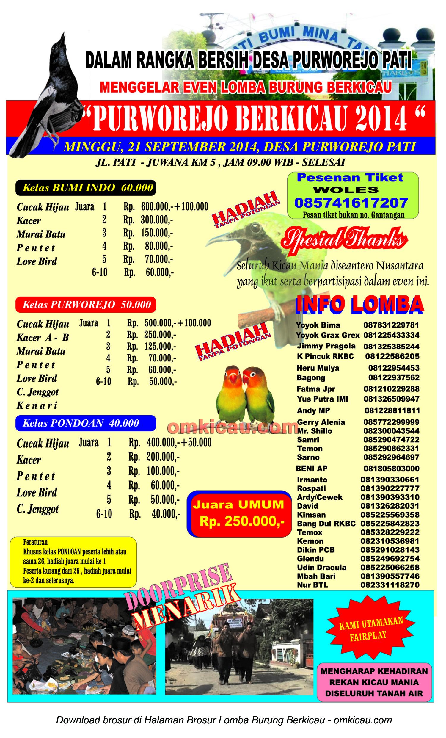 Brosur Lomba Burung Purworejo Berkicau 2014, Kab Pati, 21 September 2014