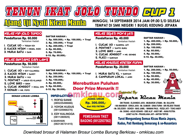 Brosur Lomba Burung Tenun Ikat Jolo Tundo Cup 1, Jepara, 14 September 2014