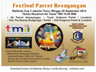 Brosur Festival Parrot Kesayangan Wali Kota Cup 3, Jakarta Timur, 28 September 2014