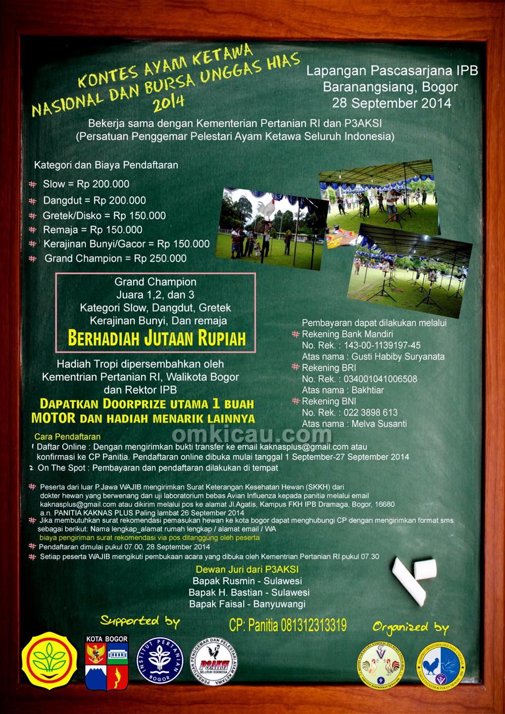 Brosur Kontes Ayam Ketawa Nasional-IPB, Bogor, 28 September 2014