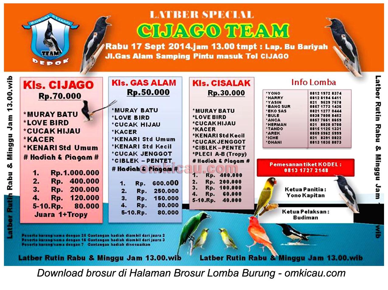 Brosur Latber Special Cijago Team, Depok, 17 September 2014