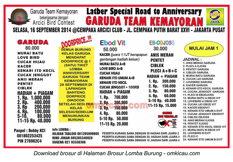 Brosur Latber Special Road to Anniversary Garuda Kemayoran, Jakarta Pusat, 16 September 2014