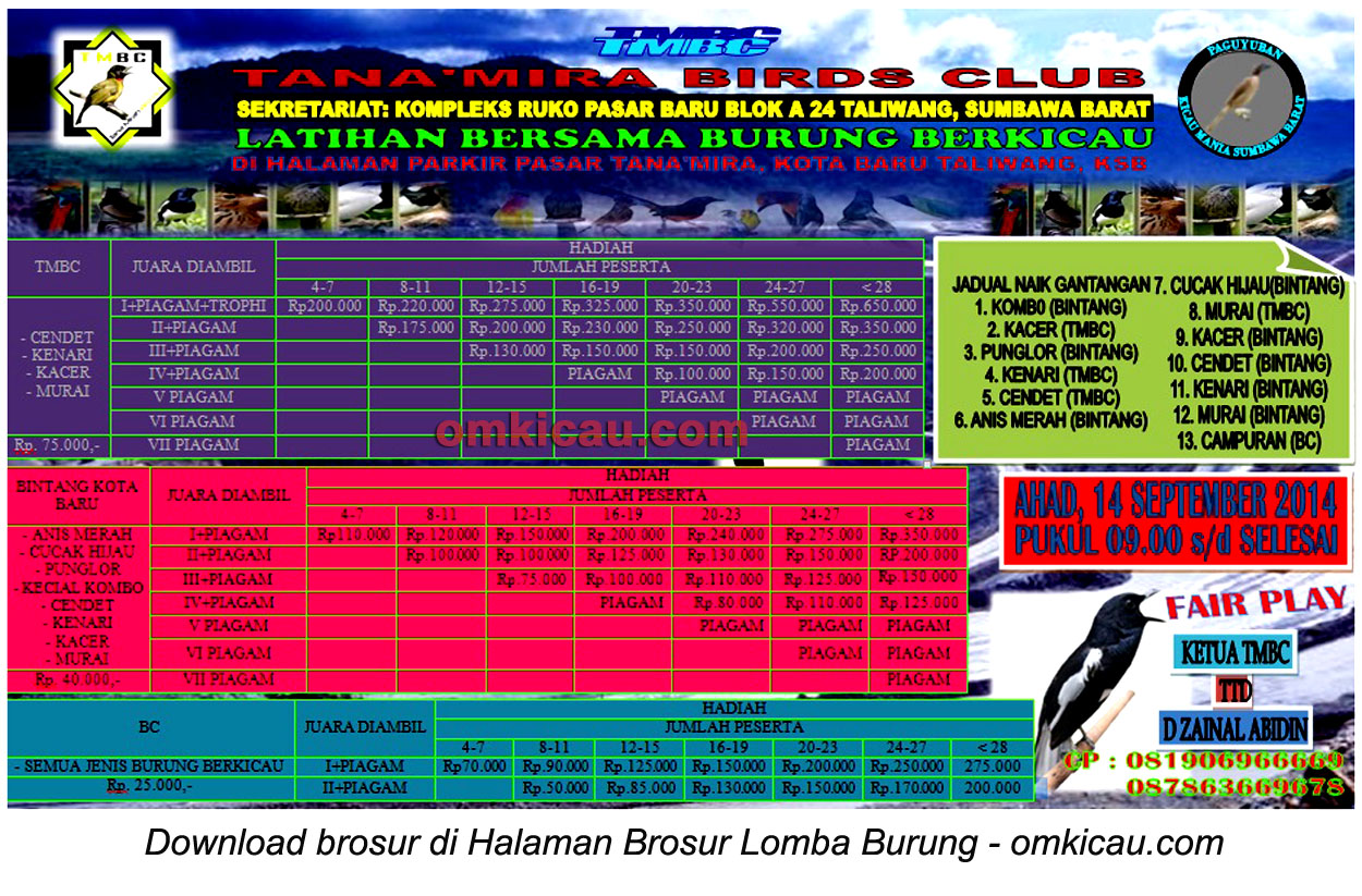 Brosur Latber Tana'Mira BC Taliwang, Sumbawa Barat, 14 September 2014
