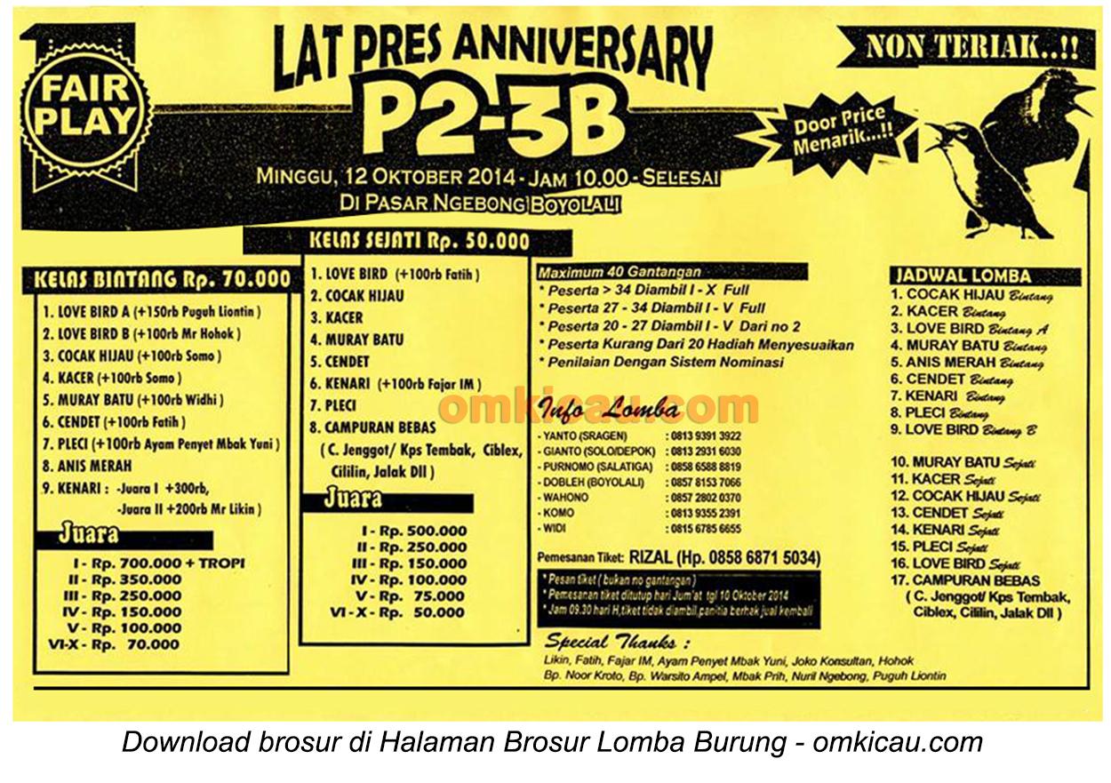Brosur Latpres Anniversary P2-3B, Boyolali, 12 Oktober 2014