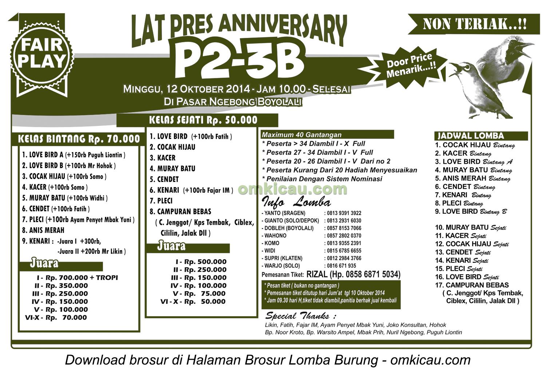 Brosur Latpres Burung Berkicau Anniversary P2-3B, Boyolali, 12 Oktober 2014