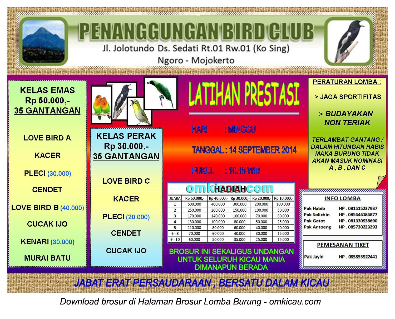 Brosur Latpres Burung Berkicau Penanggungan BC, Mojokerto, 14 September 2014