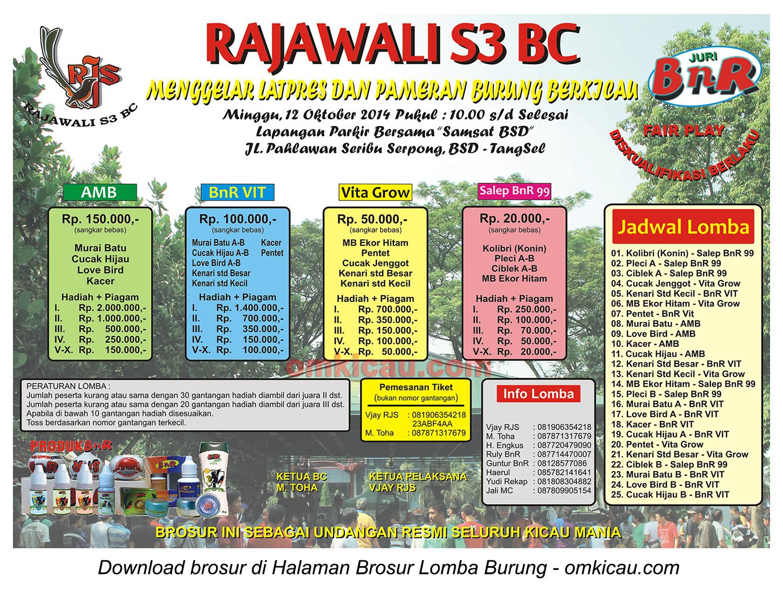 Brosur Latpres Burung Berkicau Rajawali S3 BC, Tangsel, 12 Oktober 2014