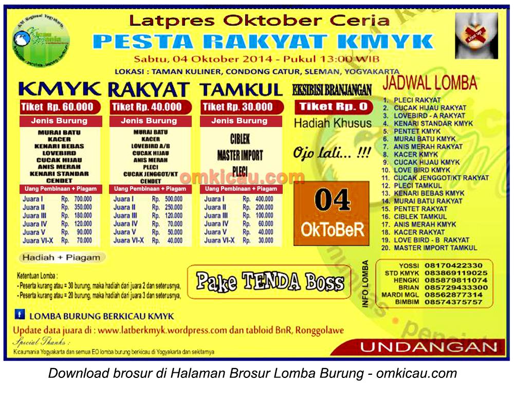 Brosur Latpres Pesta Rakyat KMYK, Jogja, 4 Oktober 2014