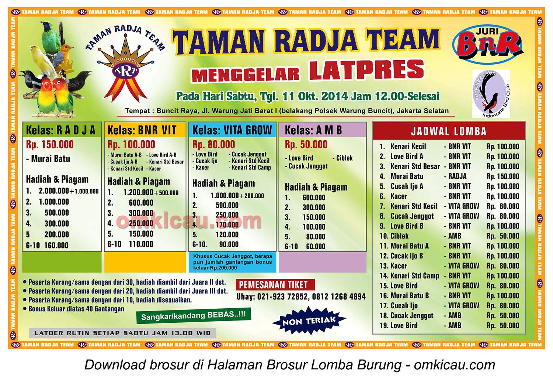 Brosur Latpres Taman Radja Team, Jakarta Selatan, 11 Oktober 2014