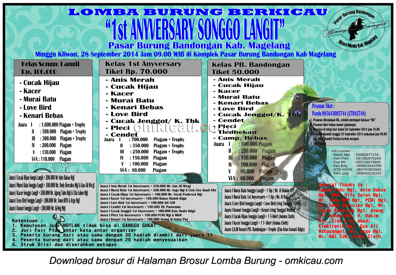 Brosur Lomba Burung Berkicau 1st Anniversary Songo Langit, Magelang, 28 September 2014