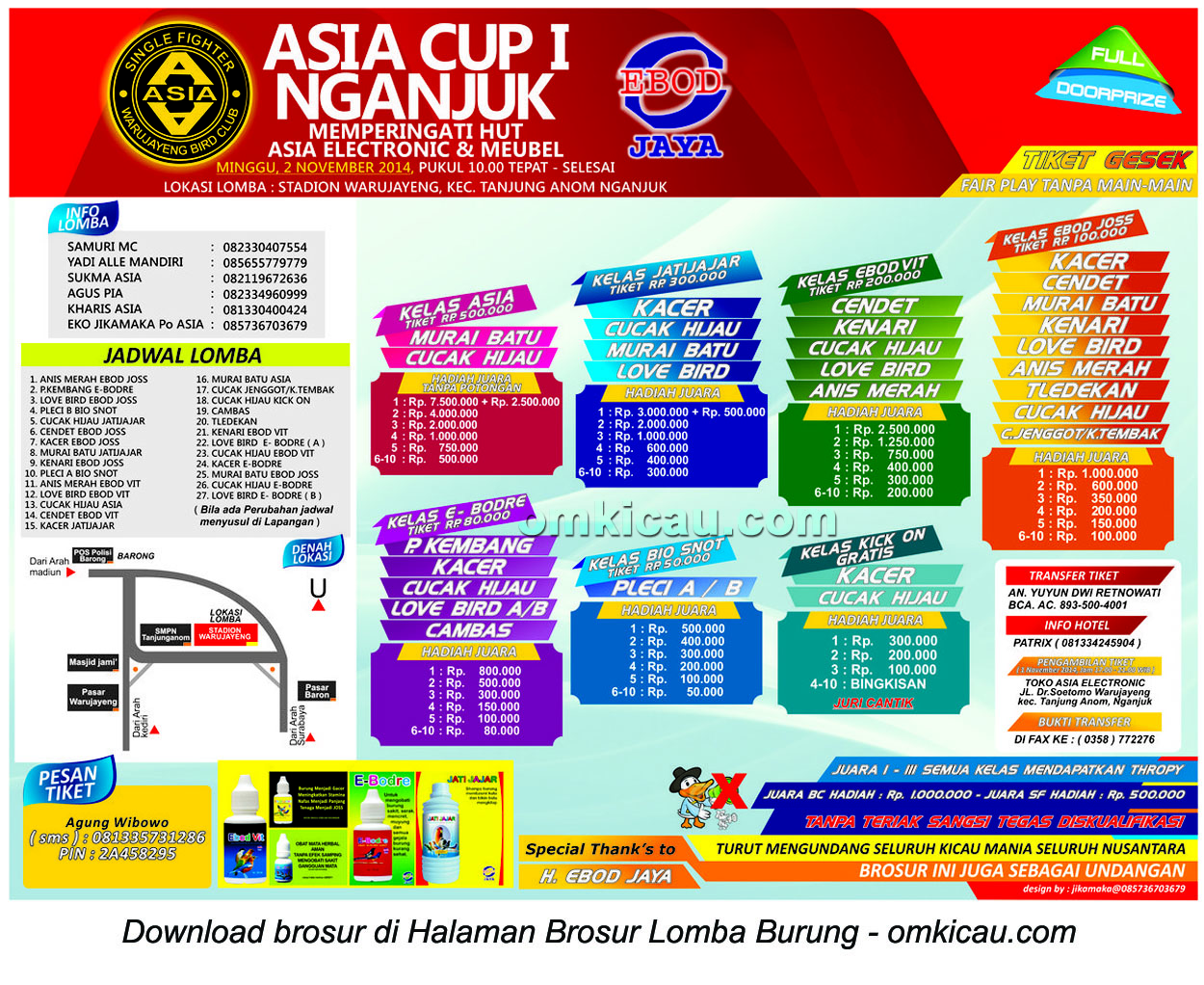 Brosur Lomba Burung Berkicau Asia Cup I, Nganjuk, 2 November 2014