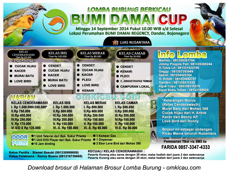 Brosur Lomba Burung Berkicau Bumi Damai Cup, Bojonegoro, 14 September 2014