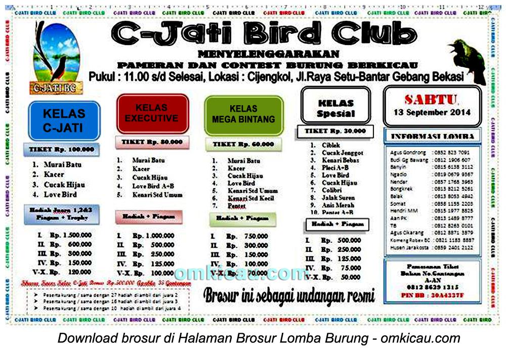 Brosur Lomba Burung Berkicau C-Jati BC, Bekasi, 13 September 2014