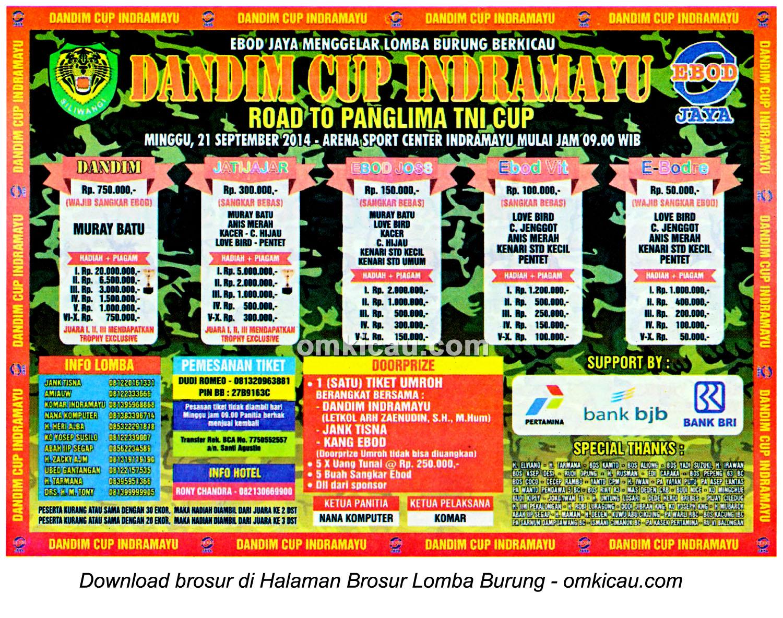 Brosur Lomba Burung Berkicau Dandim Cup, Indramayu, 21 September 2014