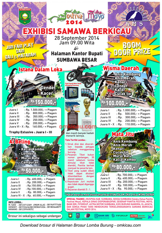 Brosur Lomba Burung Berkicau Exhibisi Samawa Berkicau, Sumbawa Besar, 28 September 2014