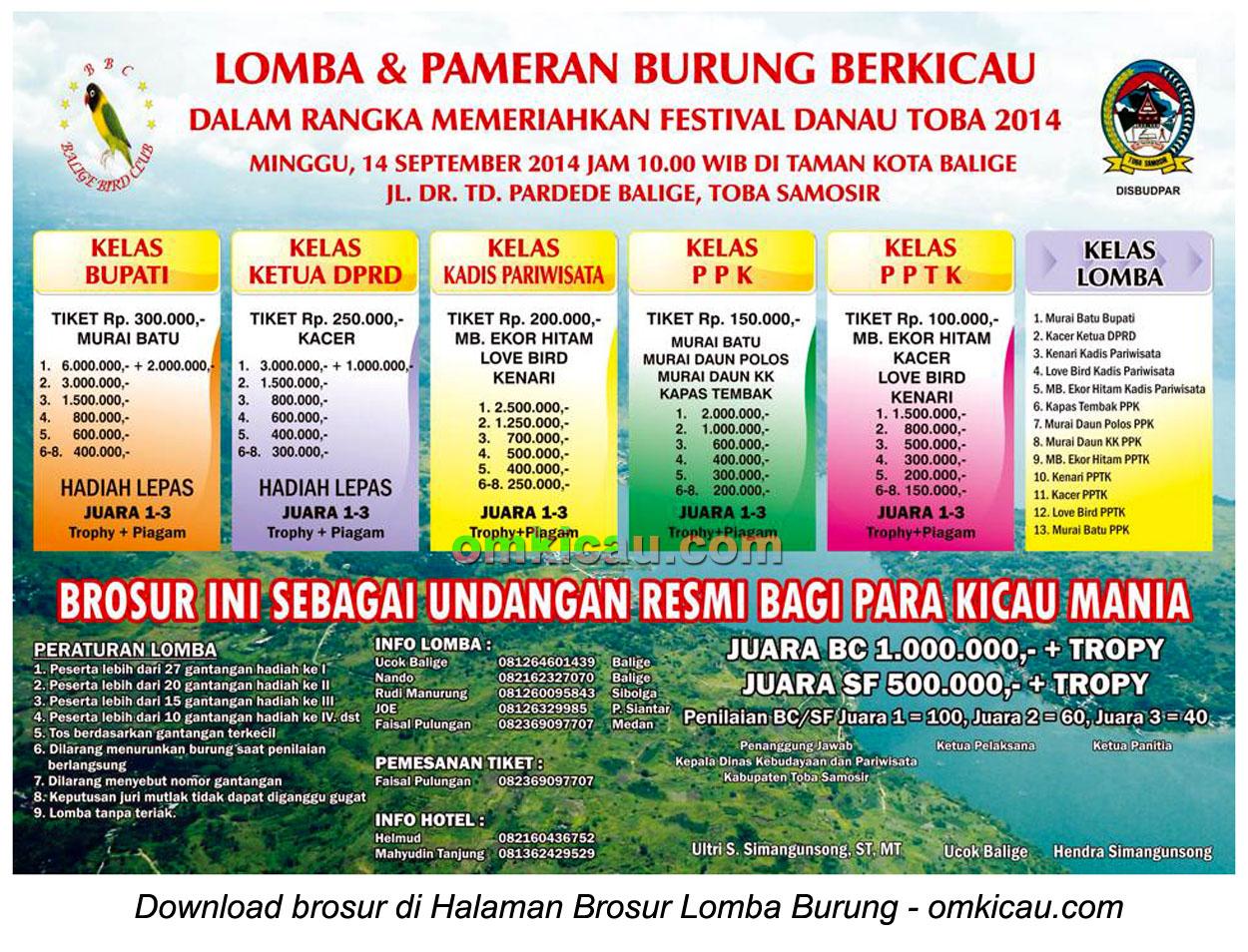Brosur Lomba Burung Berkicau Festival Danau Toba, Toba Samosir, 14 September 2014