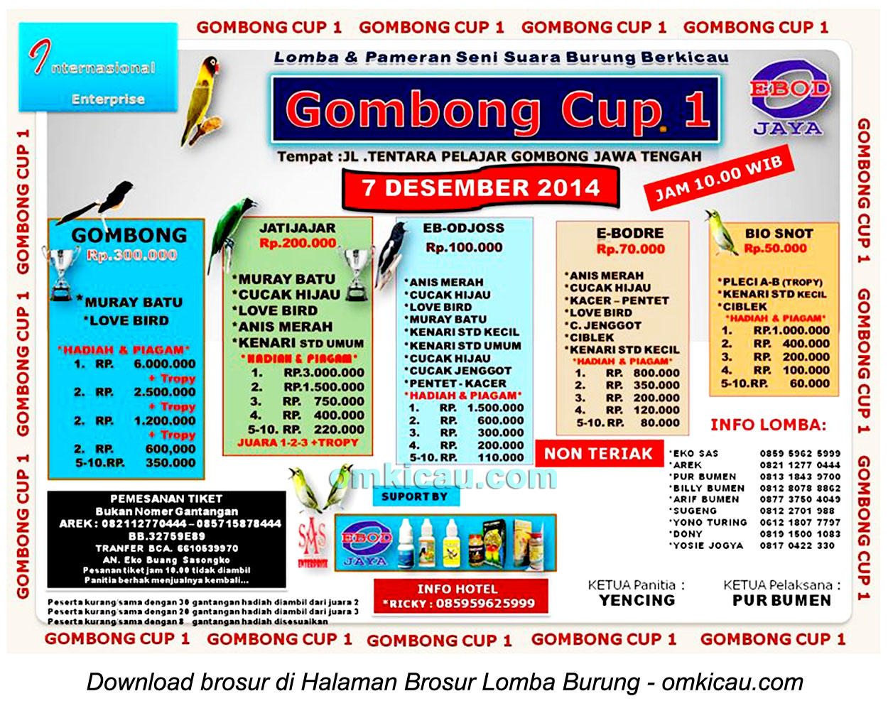 Brosur Lomba Burung Berkicau Gombong Cup 1, Kebumen, 7 Desember 2014