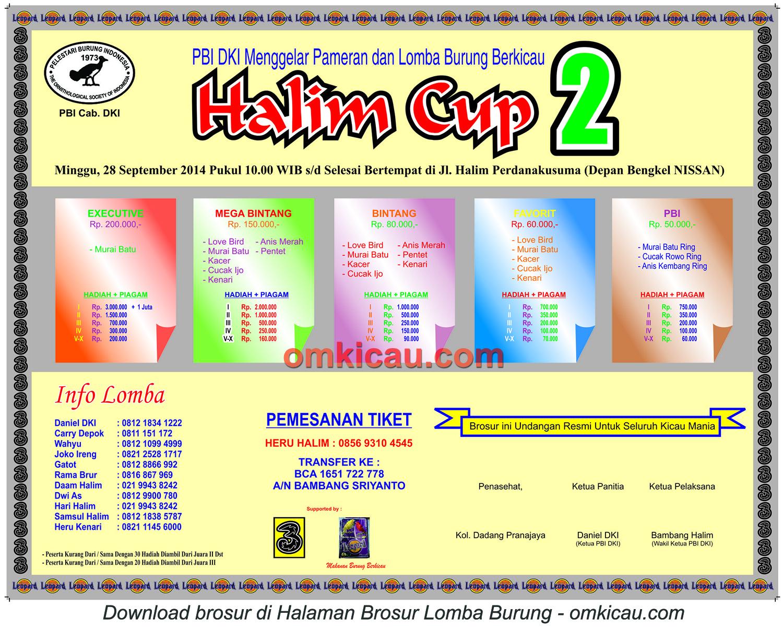 Brosur Lomba Burung Berkicau Halim Cup 2, Jakarta, 28 September 2014