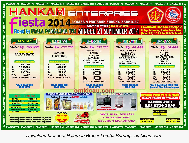 Brosur Lomba Burung Berkicau Hankam Fiesta, Bekasi, 21 September 2014