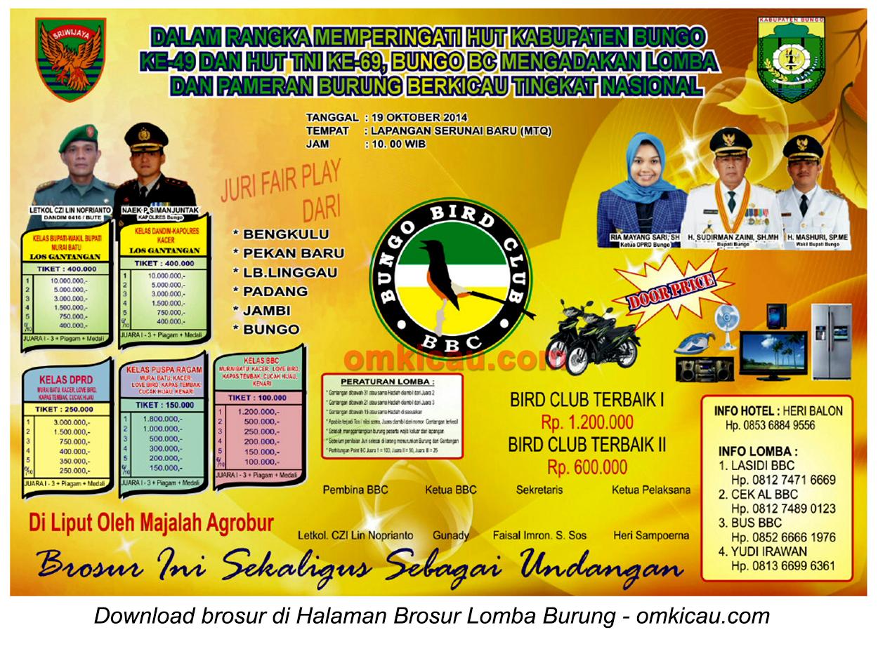 Brosur Lomba Burung Berkicau HUT Ke-49 Kabupaten Bungo, 19 Oktober 2014