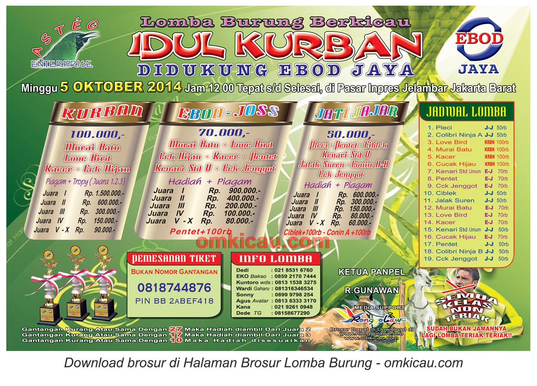 Brosur Lomba Burung Berkicau Idul Kurban - Asteg, Jakarta Barat, 5 Oktober 2014