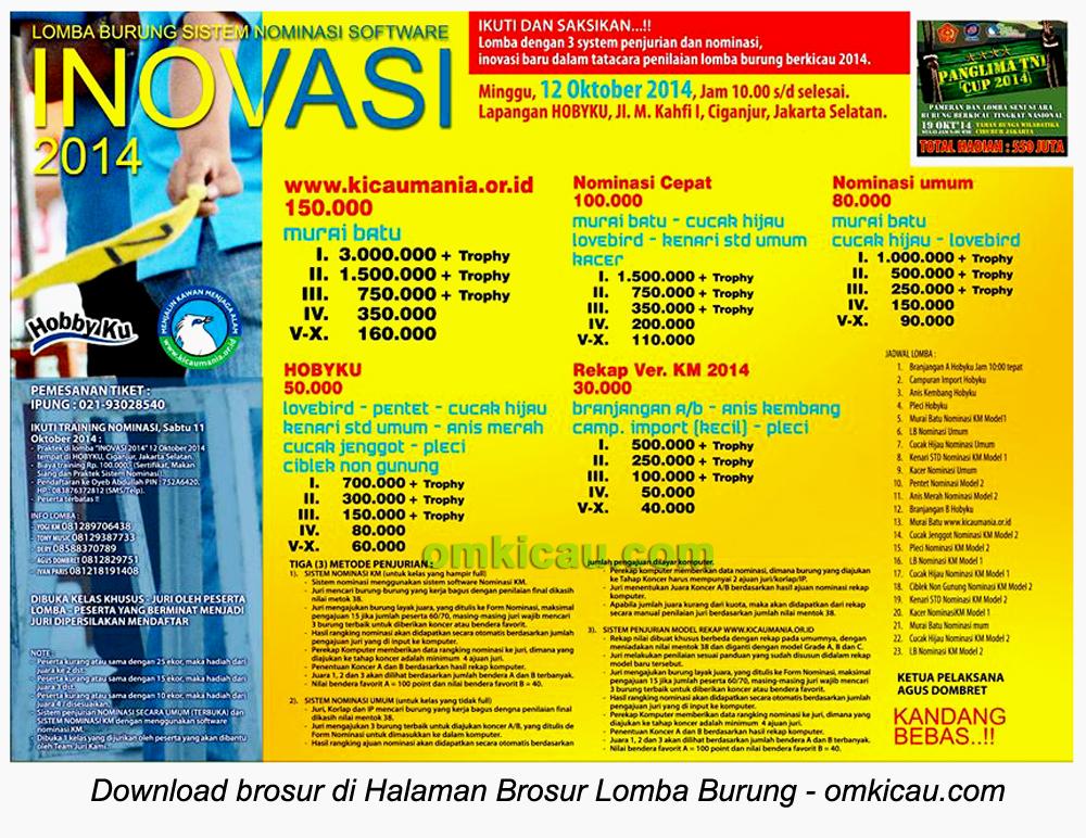 Brosur Lomba Burung Berkicau Inovasi 2014, Jakarta Selatan, 12 Oktober 2014
