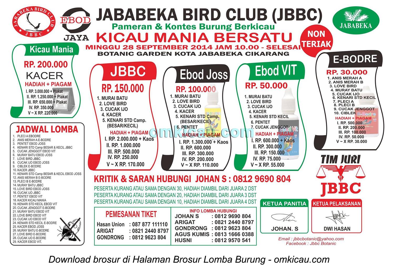 Brosur Lomba Burung Berkicau Jababeka BC, Bekasi, 28 September 2014