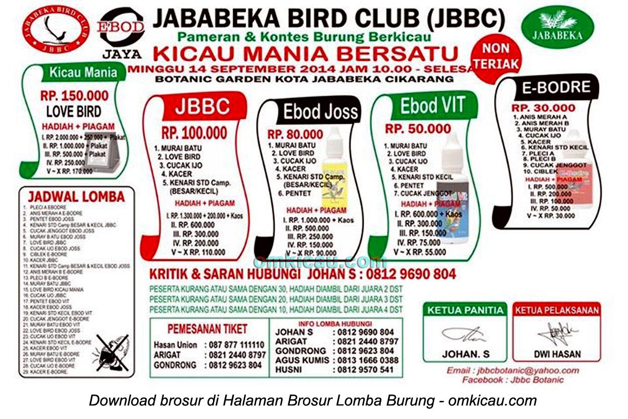 Brosur Lomba Burung Berkicau Jababeka BC, Cikarang-Bekasi, 14 September 2014