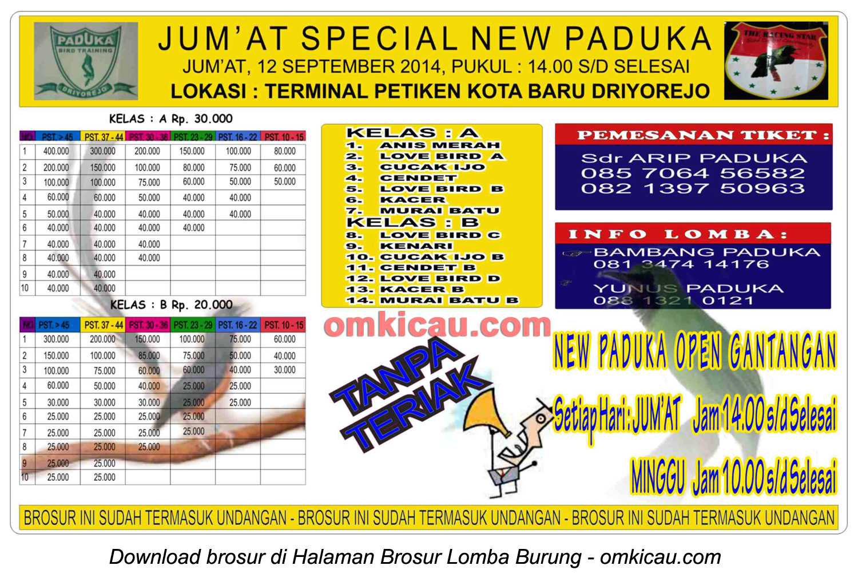 Brosur Lomba Burung Berkicau Jumat Special New Paduka, Gresik, 12 September 2014