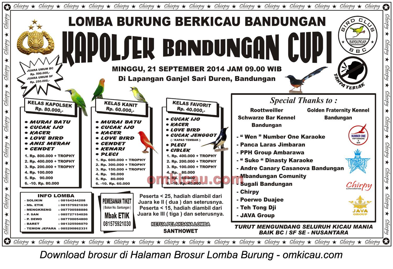 Brosur Lomba Burung Berkicau Kapolsek Bandungan Cup I, 21 September 2014