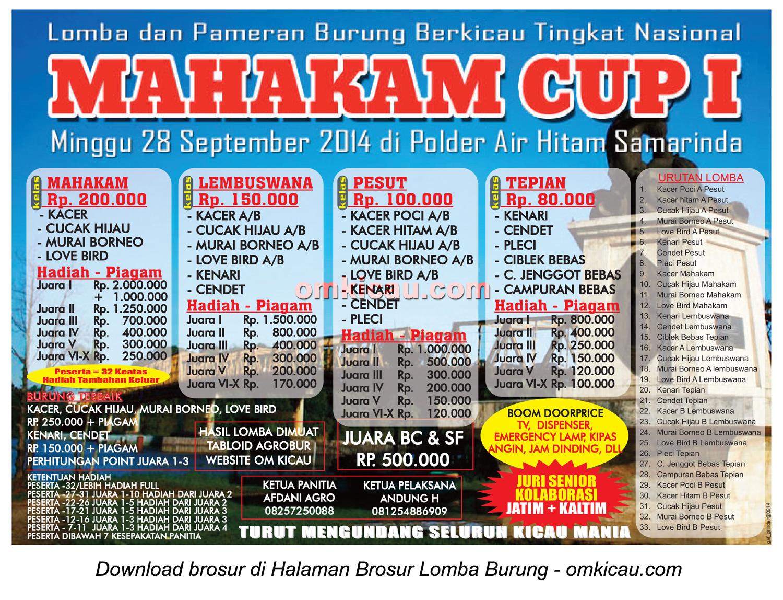 Brosur Lomba Burung Berkicau Mahakam Cup I, Samarinda, 28 September 2014