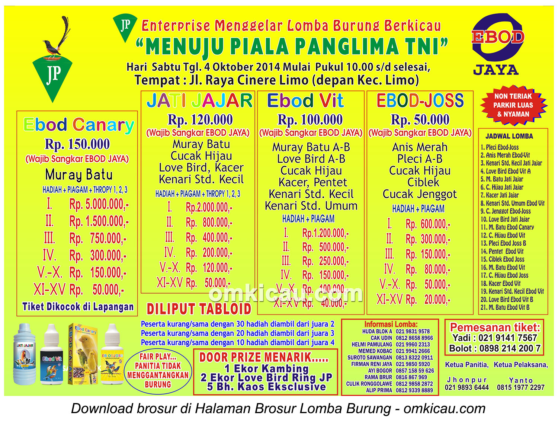 Brosur Lomba Burung Berkicau Menuju Piala Panglima TNI, Depok, 4 Oktober 2014