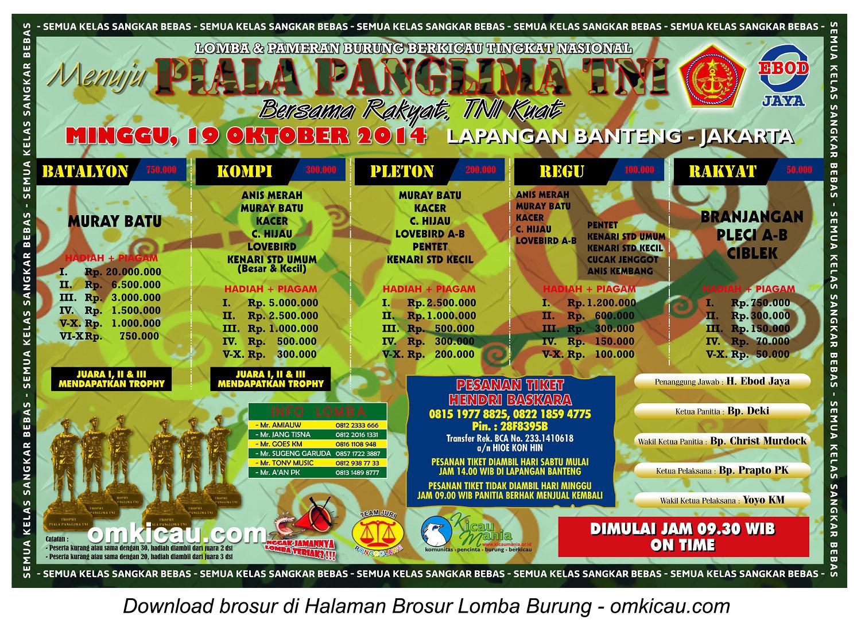 Brosur Lomba Burung Berkicau Menuju Piala Panglima TNI, Jakarta, 19 Oktober 2014