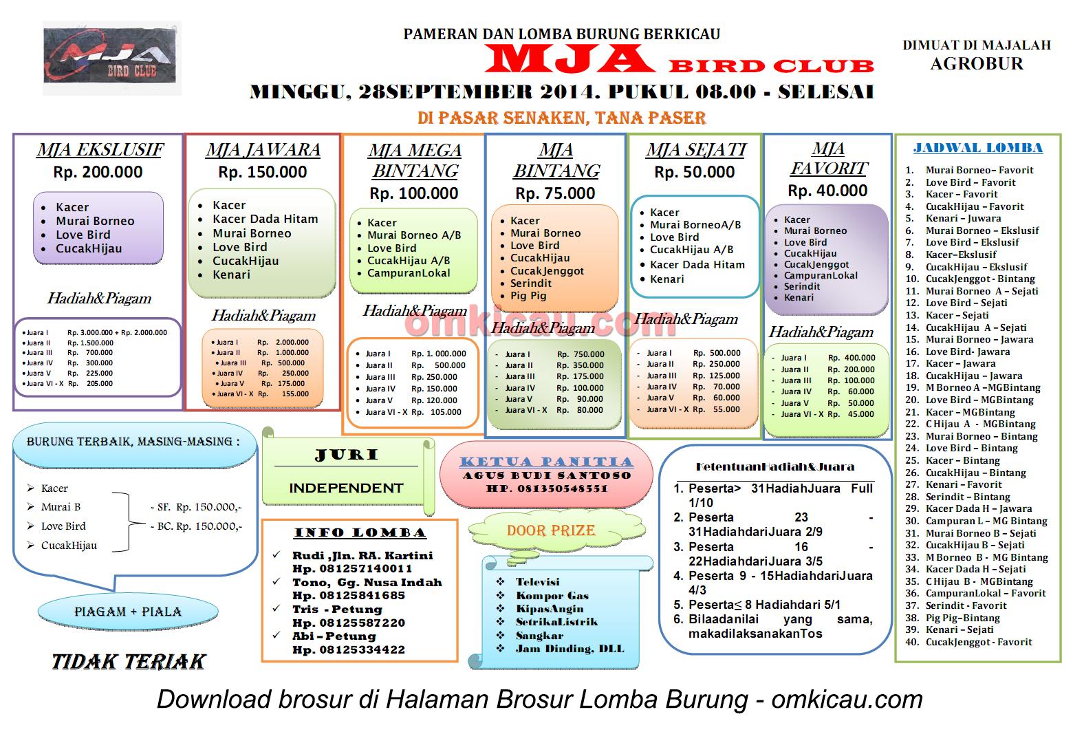 Brosur Lomba Burung Berkicau MJA BC, Tana Paser, 28 September 2014