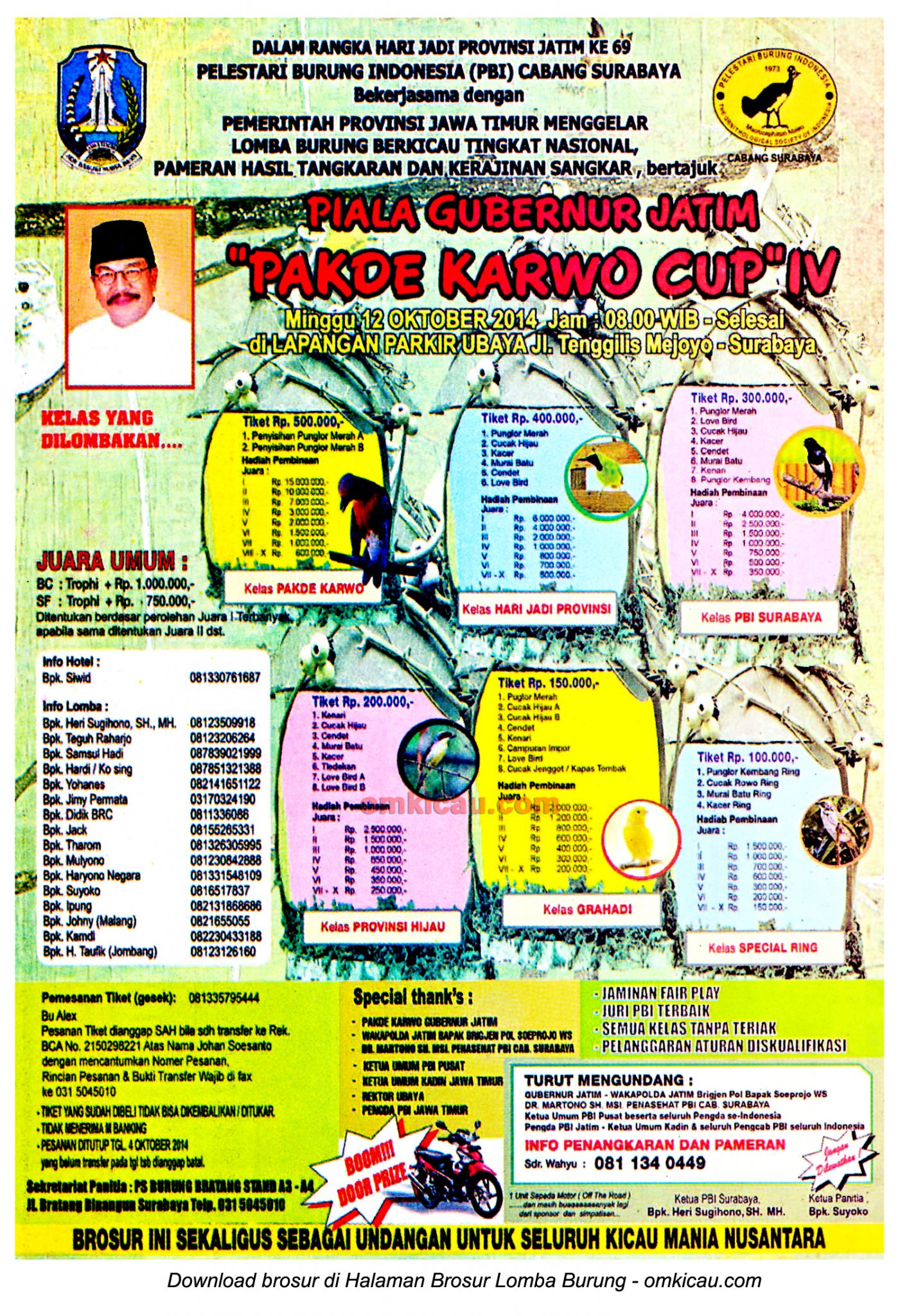 Brosur Lomba Burung Berkicau Pakde Karwo Cup IV, Surabaya, 12 Oktober 2014