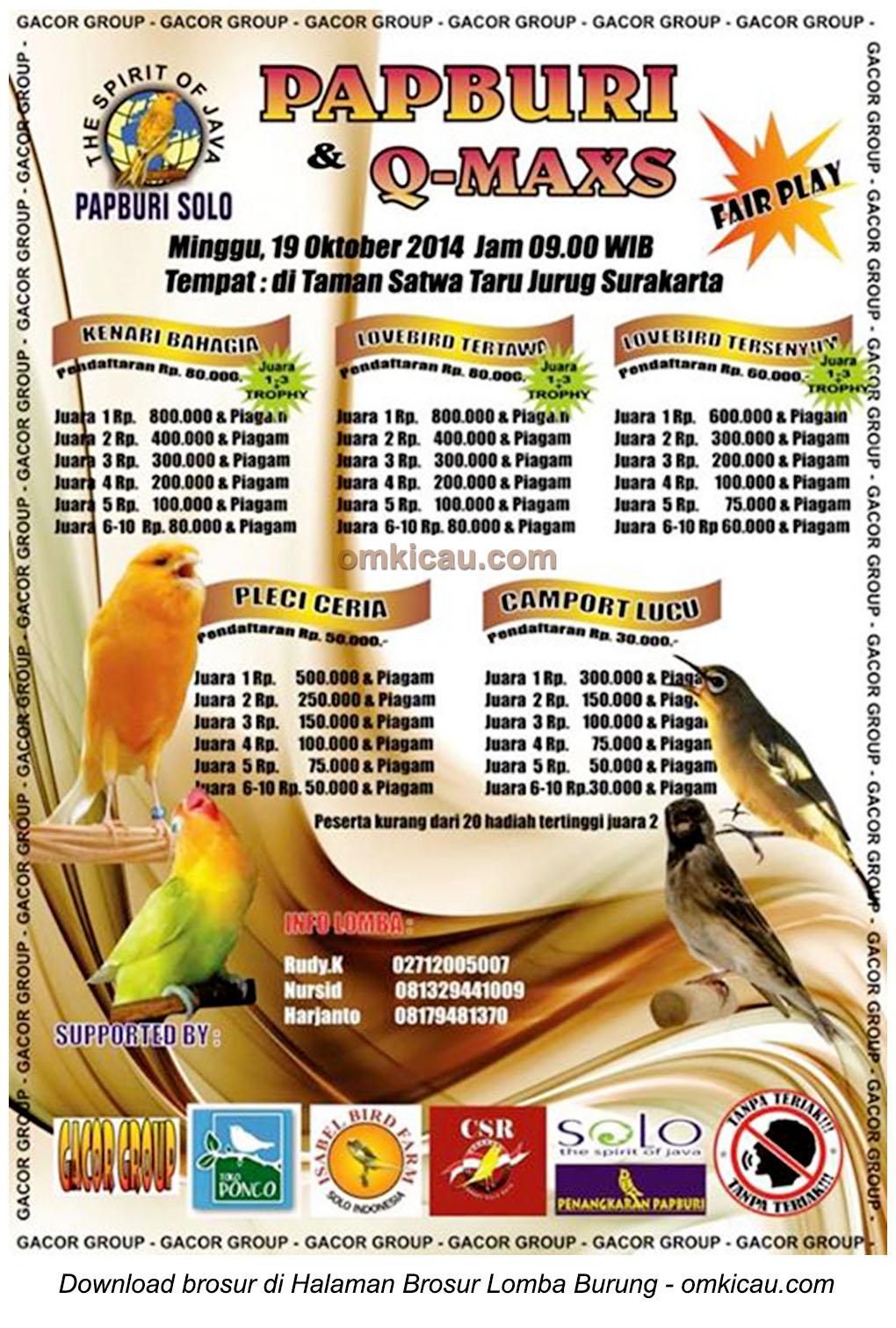 Brosur Lomba Burung Berkicau Papburi Solo 19 Oktober 2014