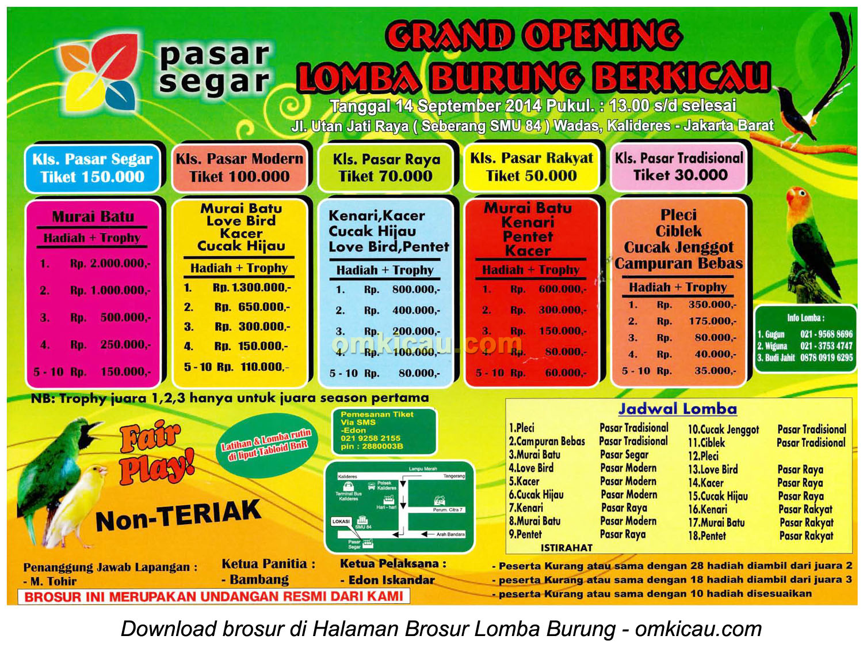 Brosur Lomba Burung Berkicau Pasar Segar, Jakarta Barat, 14 September 2014