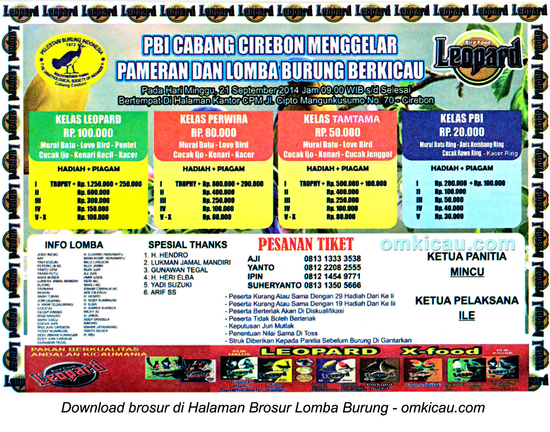 Brosur Lomba Burung Berkicau PBI Cabang Cirebon, 21 September 2014