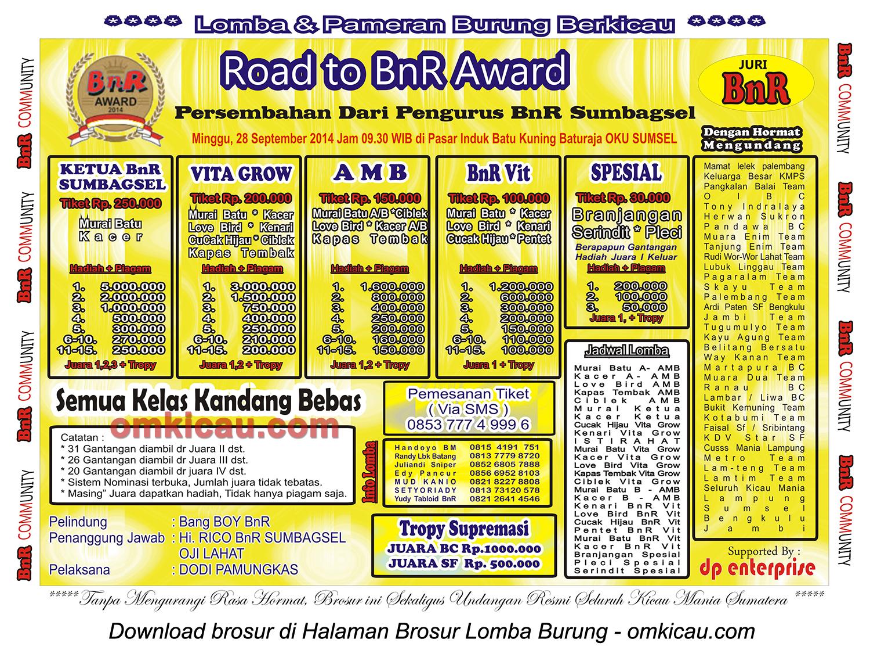 Brosur Lomba Burung Berkicau Road to BnR Award, Baturaja OKU, 28 September 2014