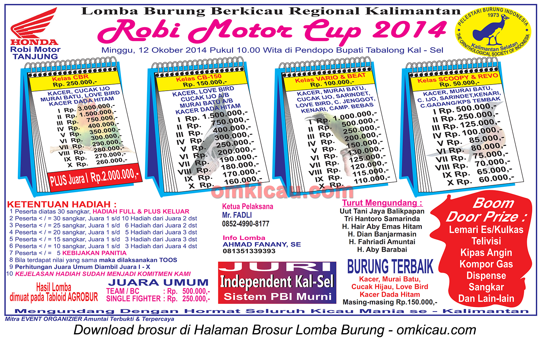 Brosur Lomba Burung Berkicau Robi Motor Cup, Tanjung-Tabalong, 12 Oktober 2014